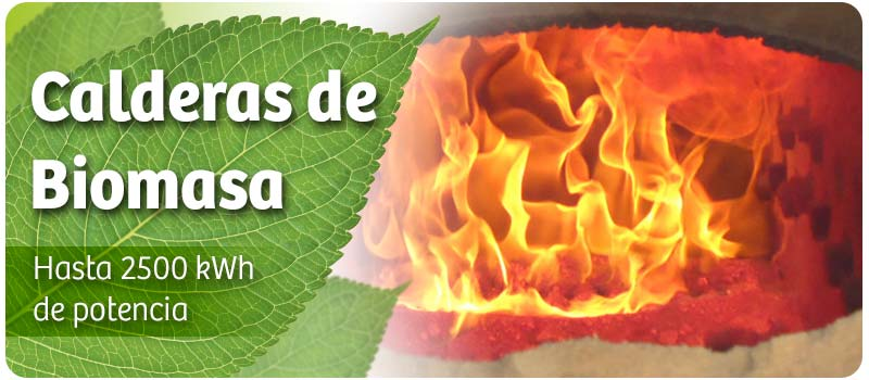 Generación de calor mediante calderas de biomasa de hasta 2500 kWh de potencia.