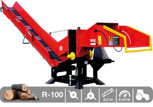 Troceadora de leña mediante tambor con toma a tractor y cinta transportadora R-100