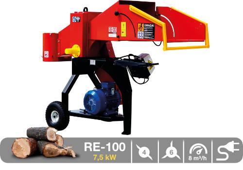 Troceadora de leña mediante tambor con toma eléctrica de 7,5 kW RE-100