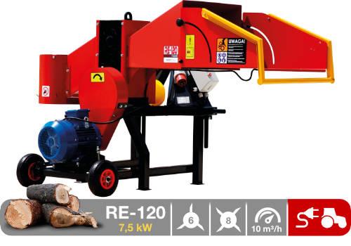 Troceadora de leña mediante tambor con toma eléctrica de 7,5 kW RE-120