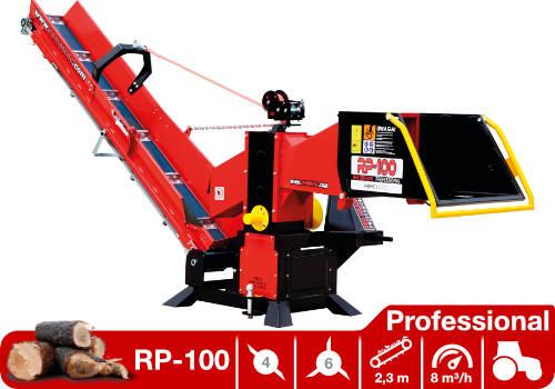Troceadora de leña mediante tambor con toma a tractor y cinta transportadora RP-100 Professional