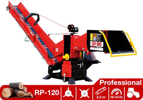 Troceadora de leña mediante tambor con toma a tractor y cinta transportadora RP-120 Professional