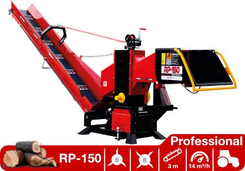 Troceadora de leña mediante tambor con toma a tractor y cinta transportadora RP-150 Professional