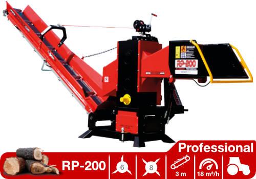 Troceadora de leña mediante tambor con toma a tractor y cinta transportadora RP-200 Professional