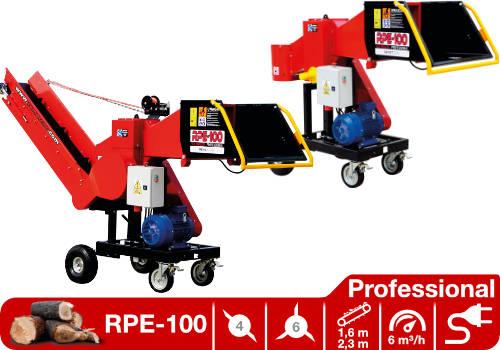 Troceadora de leña mediante tambor con toma eléctrica de 7,5 kW RPE-100 Professional