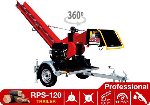 Troceadora de leña mediante tambor con motor de gasolina RPS-120 Trailer Professional