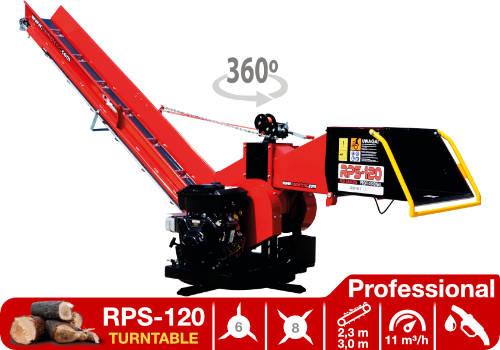 Troceadora de leña mediante tambor con motor de gasolina RPS-120 Turntable Professional