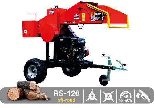 Troceadora de leña mediante tambor con motor de gasolina RS-120 off-road