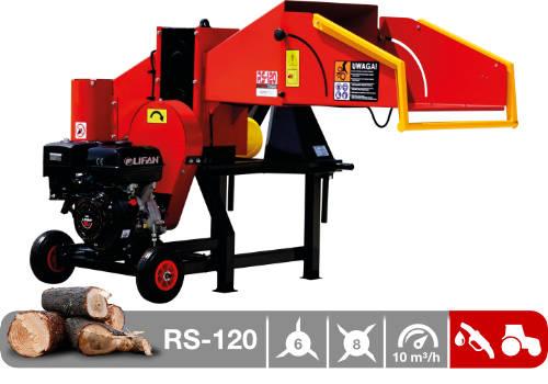 Troceadora de leña mediante tambor con motor de gasolina y tractor RS-120