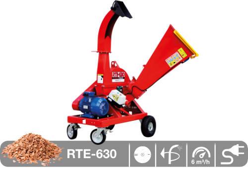 Astilladora de leña mediante disco y toma eléctrica RTE-630