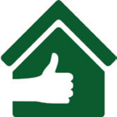 Icono de casa con gesto de aprobación.
