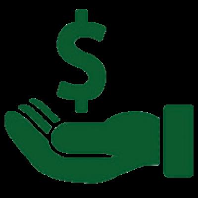 Icono de mano sosteniendo signo del dolar